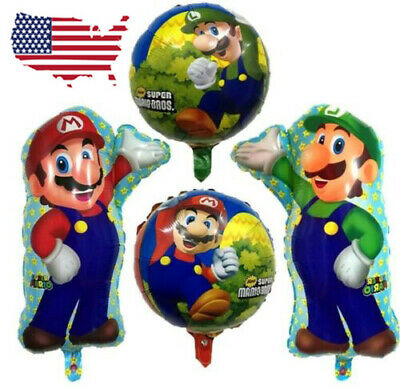 XL SUPER BIG Super Mario Bros 4 Pcs Helium Balloons Birthday Party FAST USA - Mario Birthday Party