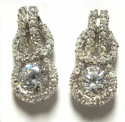 Sterling Silver White CZ Rows Love Knot Pierced Drop Earrings Chic Sterling Silver Love Knot