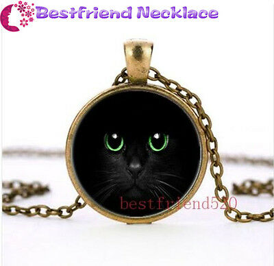 Black Cat and Green Eye Glass Bronze necklace for women men Jewelry