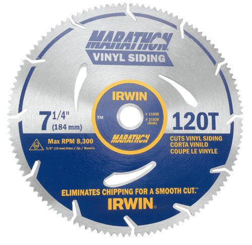 "Irwin Marathon 21830 7-1/4"" x 120 Tooth Marathon Vinyl Siding Blade"