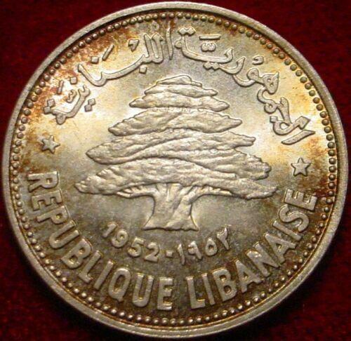1952 Lebanon, 50 Silver Piastres, Cedar of Lebanon, Firebush Toning BU