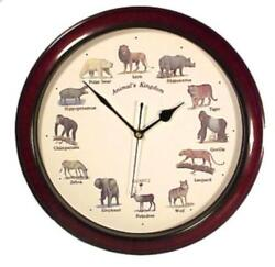 Animal Kingdom Wall Clock W/Sound, Brown Color, 14''l X 14''h X 3''w Free shippi