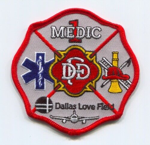 Dallas Fire Department Medic 1 Love Field Airport EMS Patch Texas TX v2