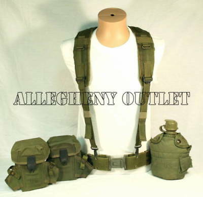 US Military LBE LARGE PISTOL BELT 1 QT Canteen Pouch SET w/ Y Suspenders VGC