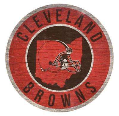 Cleveland Browns Circle w/ State Football Wood Sign NEW 12