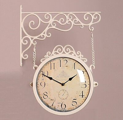antique classic double sided wall clock decor modern station clock m250iv cr
