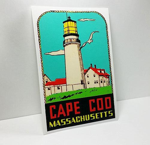 CAPE COD MASSACHUSETTS Vintage Style Travel Decal, Vinyl Sticker, Luggage Label