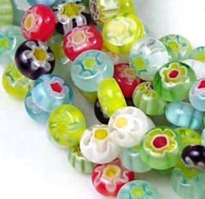 6mm Millefiori Glass Assorted Coin Tiny Beads 16""