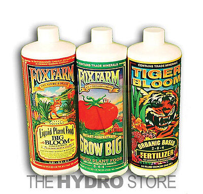 Fox Farm Soil Trio Nutrients Bundle, Big Bloom, Grow Big, Tiger Bloom Quart 32oz