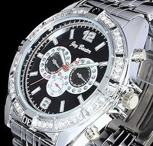 Jay Baxter Herren Uhr Armbanduhr Hip Hop Rapper Uhr Silber - Farben B-Ware
