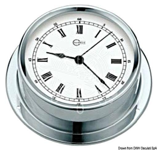 BARIGO Regatta Series Quartz Clock Chromed brass white dial 120x40mm