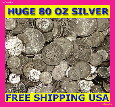 "ABSOLUTELY THE BEST OLD UNSEARCHED SILVER COIN LOT DEAL ON EBAY! ""80 OUNCES!"""