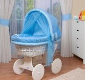 Blue wicker crib in good condition. 3 in one bouncy chair for baby/toddler