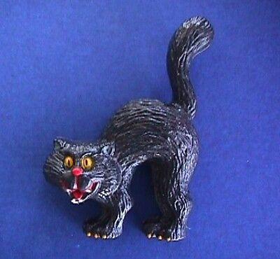 Russ PIN Halloween Vintage CAT Black SCAREDY Kitty Holiday Brooch