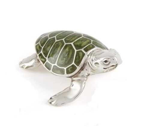 Saturno Sterling Silver and Enamel Turtle - Fully Hallmarked Silver - Medium