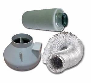 Hydroponic 150mm Fan 150x500mm Carbon Filter 150x5m ducting
