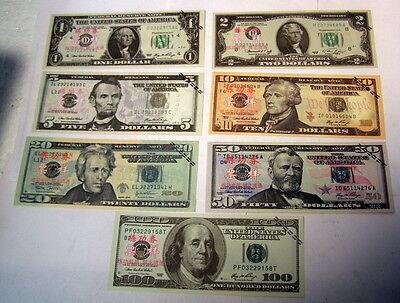 ** $1 $2 $5 $10 $20 $50 $100 -- UNITED STATES - Set of 7 - BANKNOTES 4 TRAINING