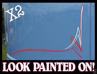 x2 Custom hot rod / Rat Rod Pinstripe Corner decal sticker #2