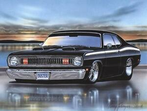 1970 Plymouth Duster Art Print Black 1971 1972