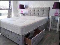 Crushed velvet / leather divan beds