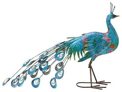 Peacock Garden Statue Metal Lawn Ornament Yard Art Outdoor Decor Bird Metallic