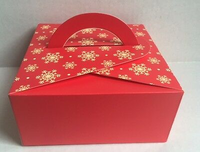 Mauve Floral / Red Snowflakes Pastry Box | for Cookie/Cupcake/Muffin | 12cts - Red Snowflakes