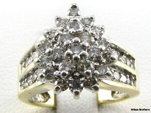 75ctw-Genuine-Diamond-Cluster-Ring-10k-Solid-White-Yellow-Gold-Estate-Womens