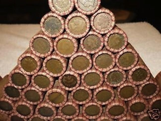 SEALED WHEAT INDIAN HEAD PENNY MIX SHOTGUN ROLL WITH INDIAN CENT END COIN LOT US - $10.50