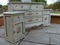 A hand painted crackle glazed * Chest of drawers * 2x Bedside Cabinets * Long Wall Mirror * Tray.