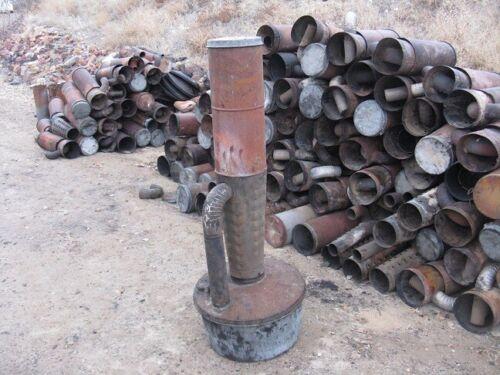 Smudge pot return pipe outdoor camp orchard heater deisel keroseen tin elbow