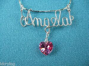 STERLING SILVER (925) PERSONALIZED HAND MADE WIRE NAME NECKLACE w/ Crystal Heart