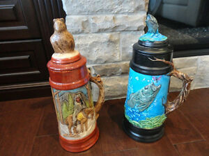 Selling Two Large Beer Steins Hand Painted Ceramic - $26 each