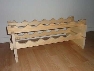 Modular Stackable Wine Rack Made of Solid Russian Pine Wood
