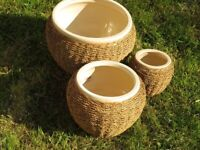 Set of 3 seagrass/rattan and stoneware planters