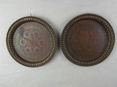 2 Stück Wandteller Antik Stil Kupfer Verziert Ziseliert Patina Teller Deko 16d2