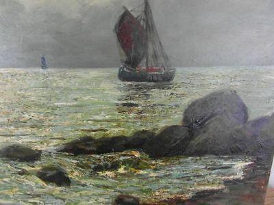Ölgemälde Seefahrt Mosblech Schiffe Maritim Signiert Gemälde Ölbild Antik 24a1