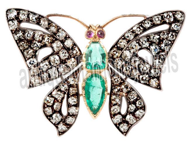 3.50ct Rose Cut Diamond Antique 925 Silver Ruby Emerald Gemstone Brooch Pin