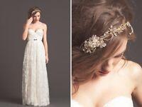 New bridal headband/ belt gold crystals and rhinestones