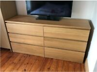 Quality Sturdy Large IKEA Malm Oak Wood Drawer Chest Dresser Storage Bedroom Living TV Dining Unit