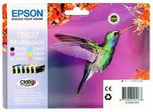 Epson Claria T0807 Hummingbird Genuine Multipack Ink Cartridges GENUINE TO807 BN