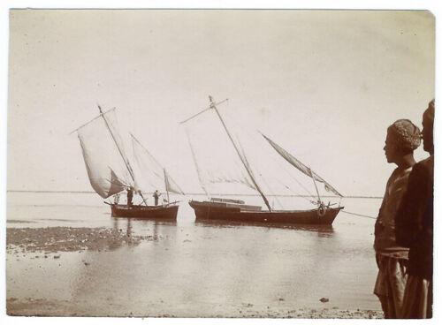 Photo Tunisia Calvin 1910 - Mahonnes Of Djerba - Tunisia - Boat Sail Fisherman