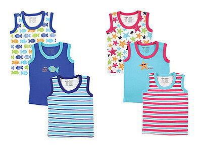 Luvable Friends 3 Pack Baby Boys Blue & Girls Pink Sleeveless Tee Tops
