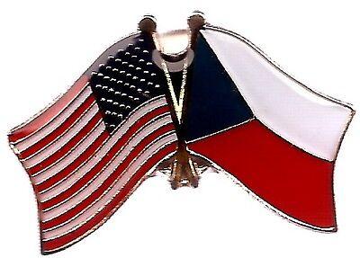 LOT OF 12 Czech Friendship Flag Lapel Pins - Czech Republic Crossed Flag Pin
