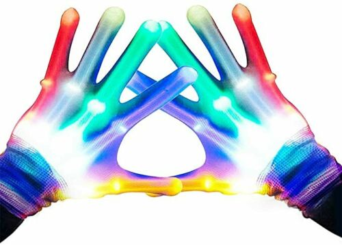 7 Color LED Multicolor Flashing Gloves Novelty Gift, New, 4 Batteries Included