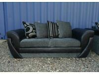 Gorgeous Black+Grey 3+2 Seater Sofas
