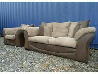Brown+Cream Jumbo Cord Sofa+Chair