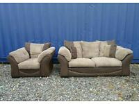 Brown+Cream Jumbo Cord Sofa+Chair.