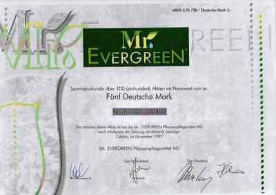 Mr. Evergreen Pflanzenpflegemittel 1997 Calden Kassel Gewinnanteilscheine 500 DM