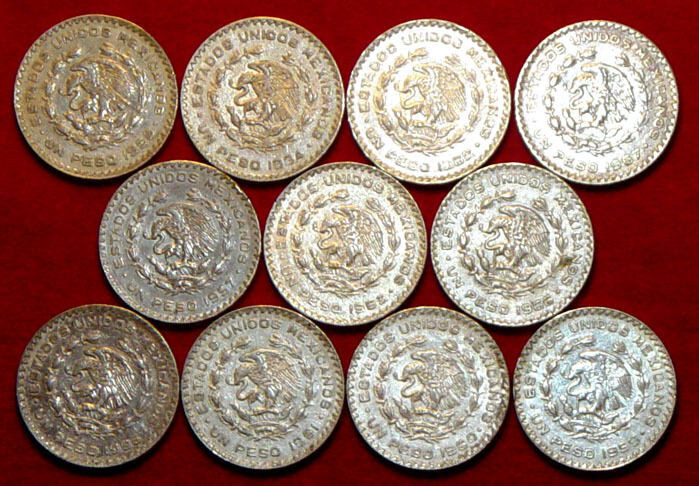 Lot Of 11 Mexican Silver Pesos - Complete Set - 1957 To 1967 L@@K