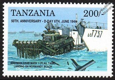 D-Day SHERMAN CRAB Mk.I Flail Tank & LCT Landing Craft Vehicle Ship WWII Stamp